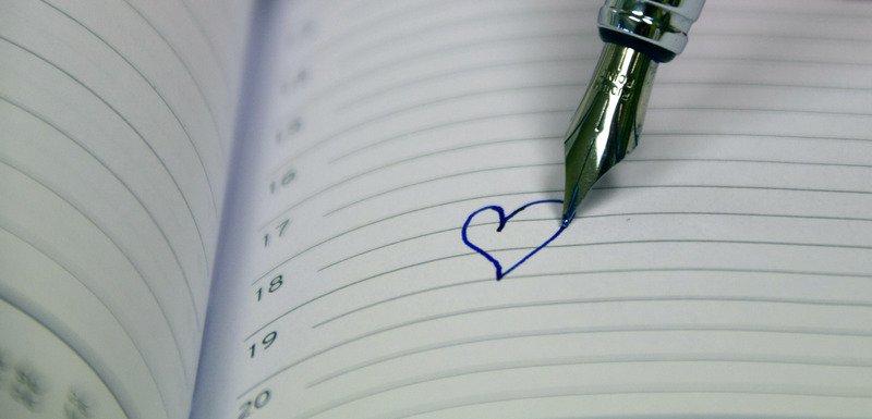 heart in diary